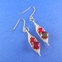 Double Gemstone Wire Woven Earrings
