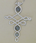 WIRE SCULPTED CROSS PENDANT WITH BEADS